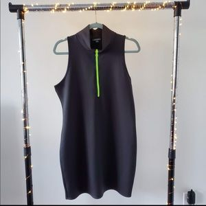 Black Scuba Dress with Neon Green Zipper (NWOT)